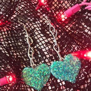 Jewelry - Handmade by me! Glitter blue heart earrings