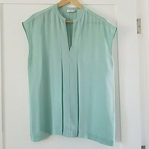 Vince Mint Green Silk Blouse, Size Small