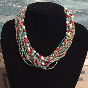 Jewelry - NWT Boho Beads Statement Bib Choker Necklace Multi