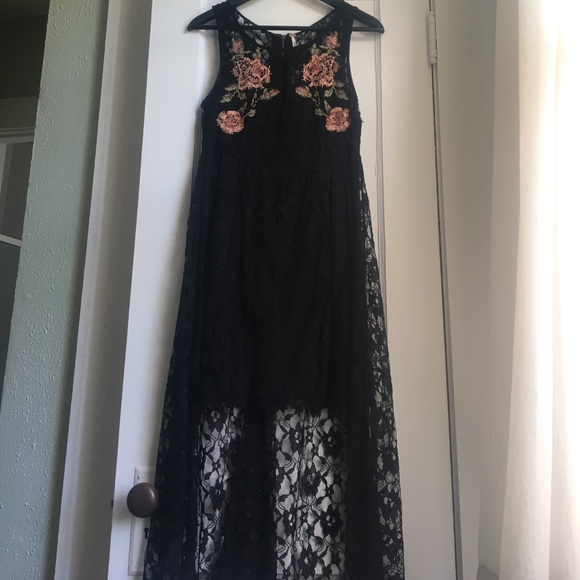 Free People Dresses Embroidered Black Lace Midi Poshmark
