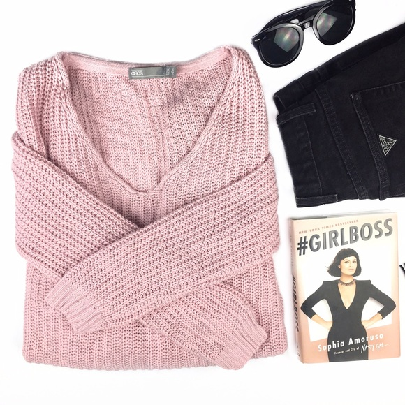Asos - Asos Chunky Knit Oversized Pink V-Neck Sweater from ...