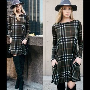Plaid Knit Tunic / Sweater Dress - Olive