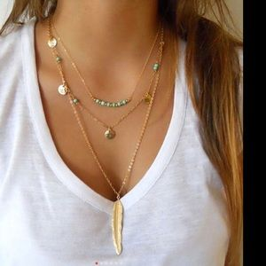 sundance boutique Jewelry - Tri layer bohemian style necklace in gold