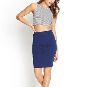 Forever 21 stretchy navy blue midi skirt