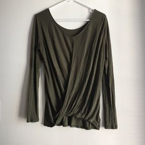 Express Olive Green Wrap Long Sleeve Shirt