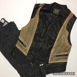 BKE Outerwear Faux Leather Biker Vest