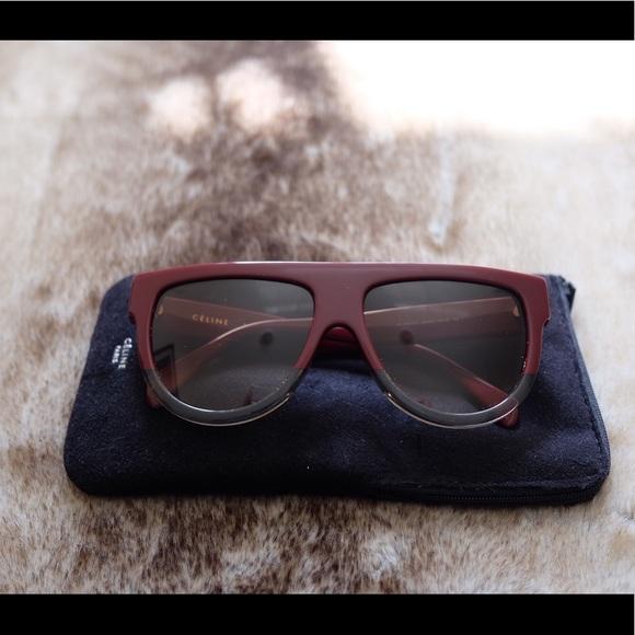 f0f6422cf22 Celine Accessories - Celine Shadow Flat Top Burgundy Sunglasses