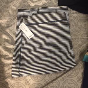 Navy and White Stripe Stretch Pencil Skirt