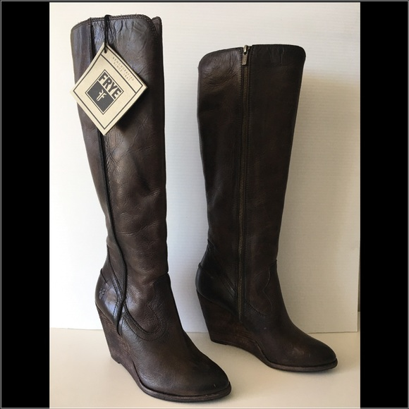 a42d7b982c4 FRYE CECE SEAM TALL BROWN LEATHER KNEE HIGH BOOTS