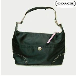 COACH BLACK NYLON SHOULDER BAG