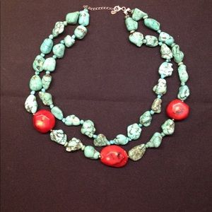 Jewelry - Necklace Chunky turquoise gemstone & Red Coral