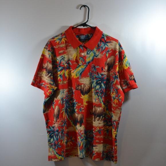 Tropical Rhino Hawaiian Ralph Lauren Polo Shirt. M 596c067678b31c534a028c55 64d1e1a3658b