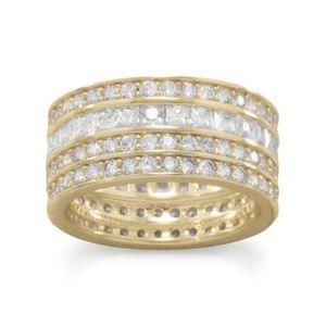 Jewelry - 14 Karat Gold Plated 4 Row CZ Band