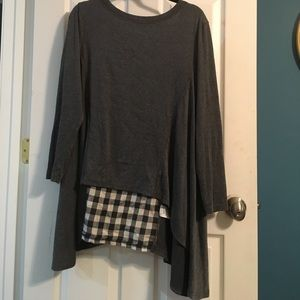 a'reve plaid gray top anthropologie