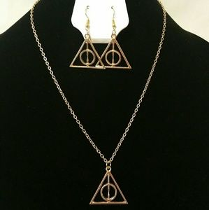 Jewelry - Harry Potter Deathly Hallows Necklace & Earrings