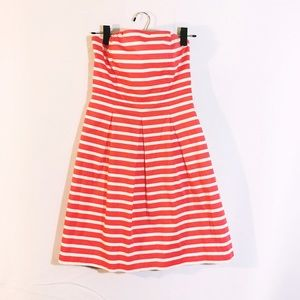 Red orange white nautical stripe strapless dress