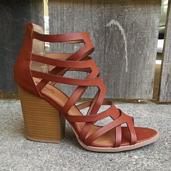 774726e15fd Qupid Strappy Caged Chunky Heel Cognac Sandals. M 596c0f724e95a3958a027b65