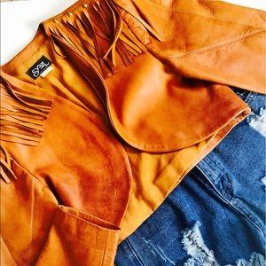 Jackets & Blazers - Vintage Leather Fringe Cropped Jacket