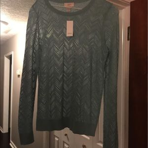 Tops - LOFT sea foam green lightweight sweater