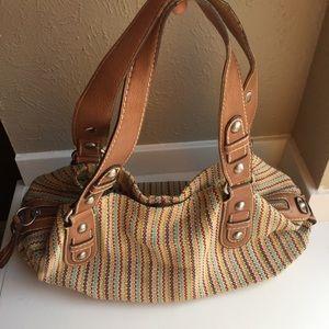 Fossil Handbag Purse rainbow woven brown leather