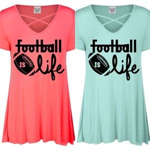 Tops - Coral football is life cold shoulder tunic top Lot