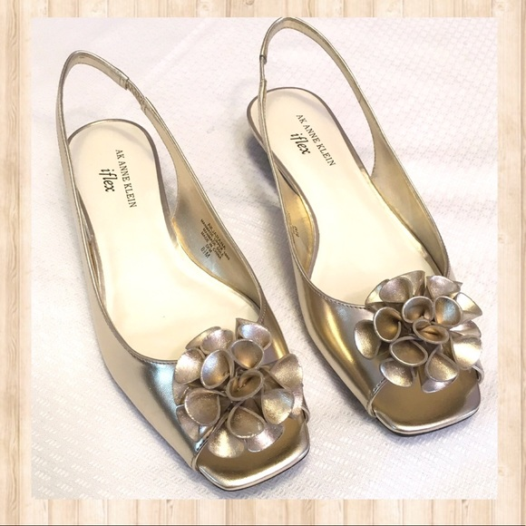 b8d16f6aa242 Anne Klein Shoes - Anne Klein metallic gold slip on peep toe sandals