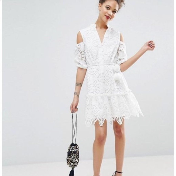 discount price best sneakers outlet ASOS White Lace Cold Shoulder Dress