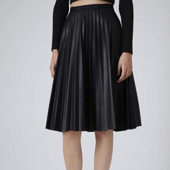 54fe04a2e3 Topshop Skirts   Faux Leather Pleated Midi Skirt   Poshmark
