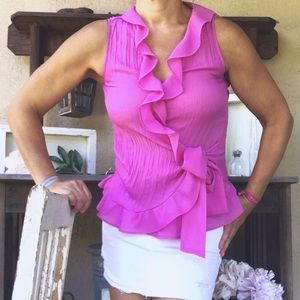 Tops - RUFFLED Button Sleeveless Crinkle Blouse w/ Tie