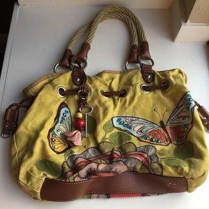 Fossil Handbag shoulder hobo purse butterfly rope