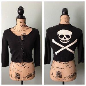 Betsey Johnson size medium skull & bones cardigan!