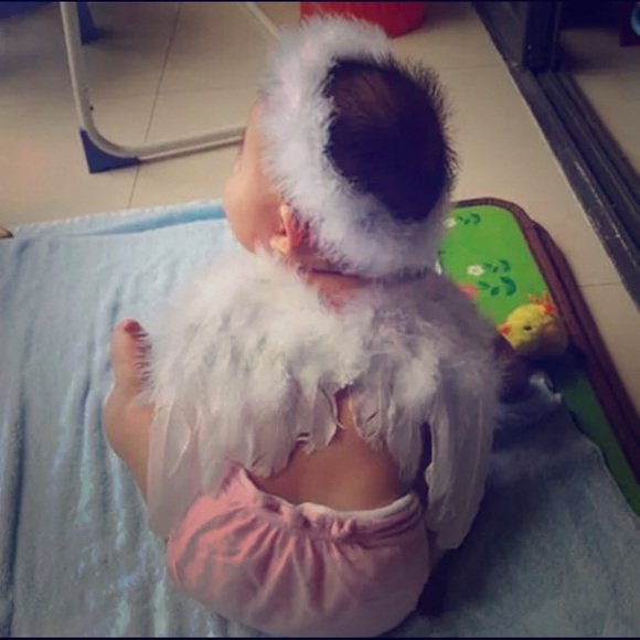 Fancy Girls Bling Other - New White baby photo prop angel wings and halo.