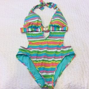 Trina Turk Striped V Plunge Swimsuit