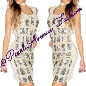 Dresses & Skirts - Women's Cream & Silver Sequin Casual Tank Dress