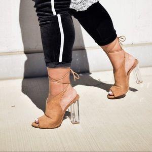 Suede lucite tie heels
