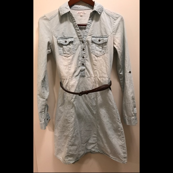 Charlotte russe charlotte russe belted chambray shirt for Belted chambray shirt dress