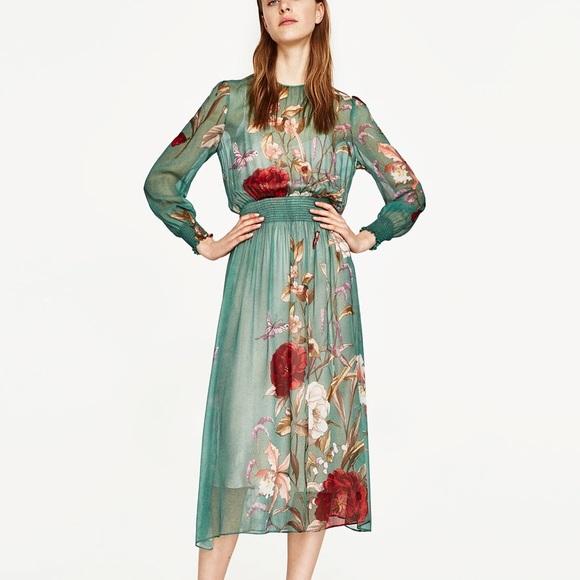 594e6a74 Zara Dresses | Floral Print Flowing Dress Medium | Poshmark