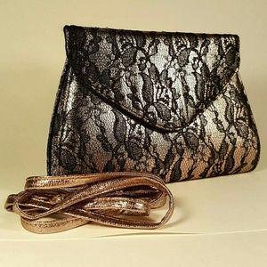 Neiman Marcus Rose Gold Lace Crossbody