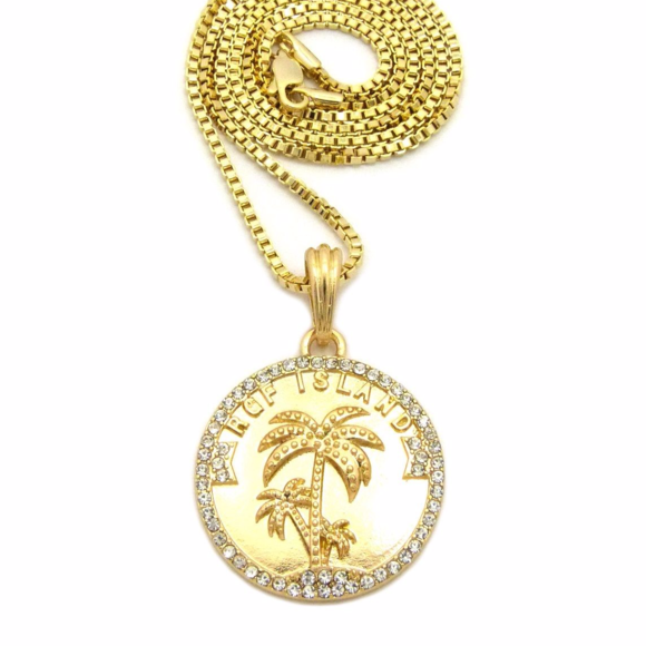 65 off other iced out rgf island palm tree pendant 24 chain iced out rgf island palm tree pendant 24 chain mozeypictures Gallery