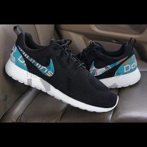 info for 233f2 15965 get nike shox deliver miami dolphins a16be 4883e  best price nike shoes miami  dolphins nike roshe one men custom black 31512 2b434