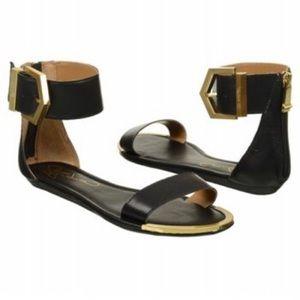 Shoes - Report Louie Black/Gold Ankle Strap Sandal