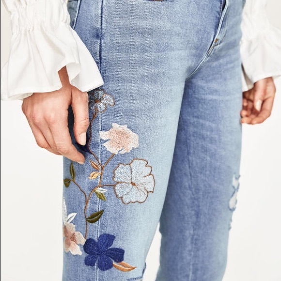 Zara mid rise jean with floral embroidery from