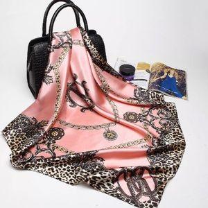 Accessories - Satin Pink Leopard Print Scarf