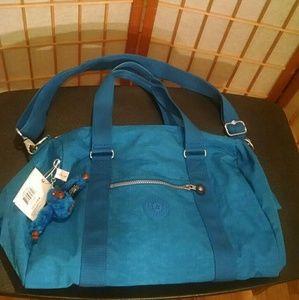 Kipling Travel Bag- Sky blue w/monkey key chain