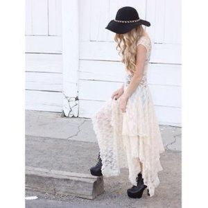 Off White Free People Lace Slip Dress