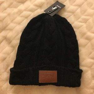 Black Stussy Cable Beanie