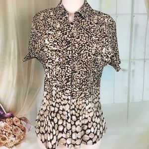 East 5th Brown Short Sleeved Blouse