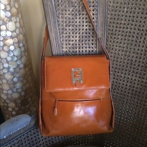 Rare Ted Lapidus cowhide leather shoulder bag