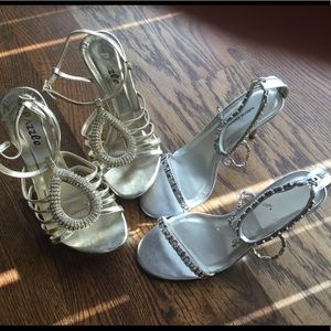 Shoes - Bundle of 2 Bling Heels Size 6.5 and Size 7