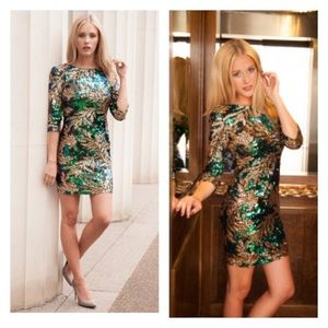 Dresses & Skirts - Leaf Print Sequin dress